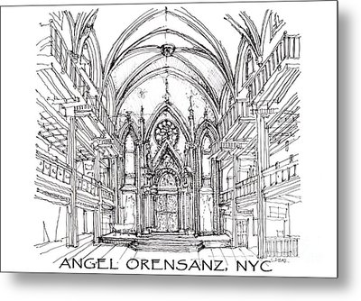 Angel Orensanz Sketch With Title Metal Print by Building  Art
