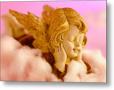 Angel Resting On Clouds And Enjoying The Sun Metal Print by Ulrich Schade