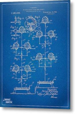 Anti-aircraft Air Mines Patent Artwork 1916 Metal Print by Nikki Marie Smith