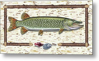 Antique Birch Pike And Lure Metal Print by JQ Licensing