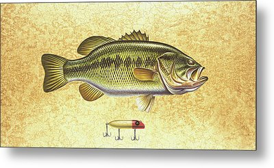 Antique Lure And Bass Metal Print by JQ Licensing