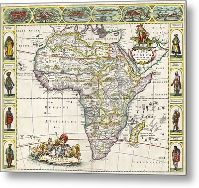 Antique Map Of Africa Metal Print by Dutch School