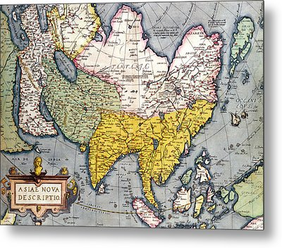 Antique Map Of Asia Metal Print by Claes Jansz