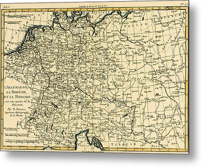 Antique Map Of Germany Bohemia And Hungary With Part Of Poland Metal Print by Guillaume Raynal