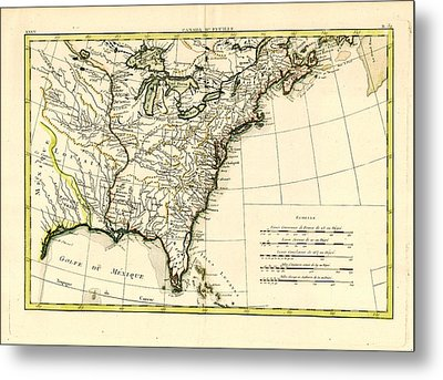 Antique Se United States Map Metal Print by Unknown