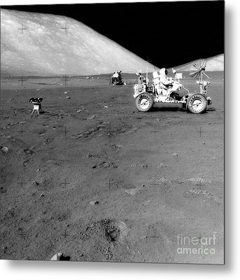 Apollo 17 Image Of Land Rover On Moon Metal Print by Stocktrek Images
