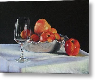 Apples And Wineglass Metal Print by Diane Breuer