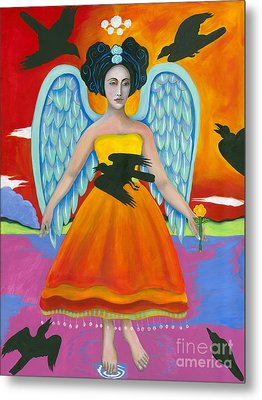 Archangel Zadklie Comes To Calm The Brewing Storm Metal Print by Christina Miller