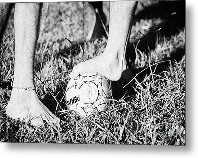 Argentinian Hispanic Men Start A Football Game Barefoot In The Park On Grass Metal Print by Joe Fox