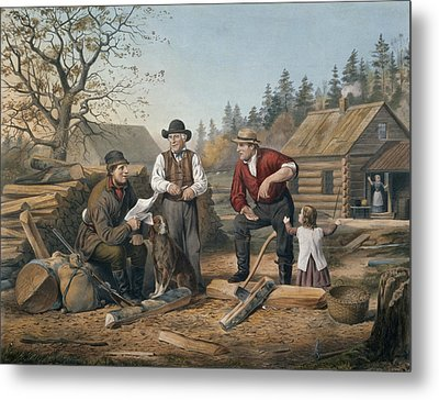 Arguing The Point Metal Print by Currier and Ives