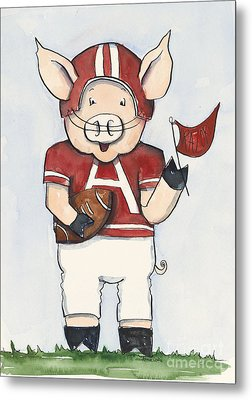 Arkansas Razorbacks - Football Piggie Metal Print by Annie Laurie