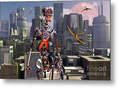 Artists Concept Of A City Of The Future Metal Print by Mark Stevenson
