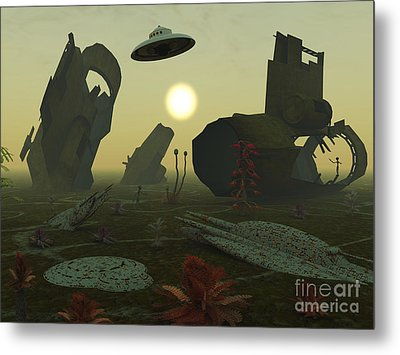 Artists Concept Of An Alien Scrap Yard Metal Print by Mark Stevenson