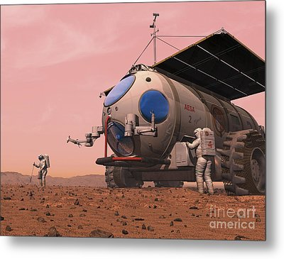 Artists Concept Of How A Martian Metal Print by Walter Myers
