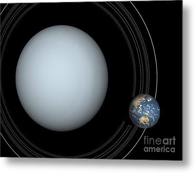 Artists Concept Of Uranus And Earth Metal Print by Walter Myers