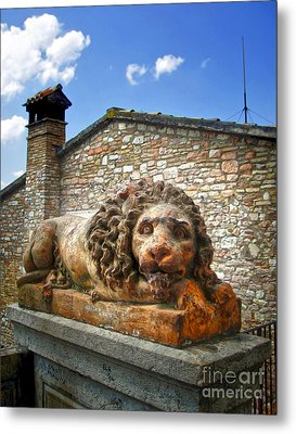 Assisi Italy - Lion Statue Metal Print by Gregory Dyer