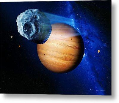 Asteroid Passing Jupiter Metal Print by Detlev Van Ravenswaay