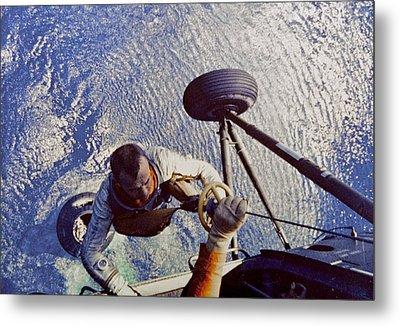Astronaut Alan B. Shepard Is Hoisted Metal Print by Everett