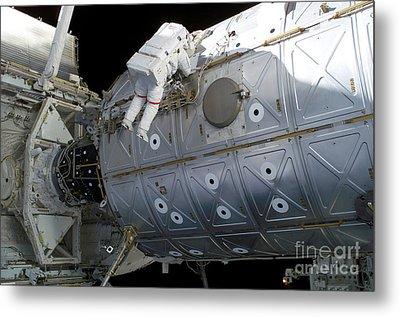 Astronaut Traverses Along The Destiny Metal Print by Stocktrek Images