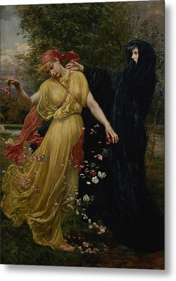 At The First Touch Of Winter Summer Fades Away Metal Print by Valentine Cameron Prinsep