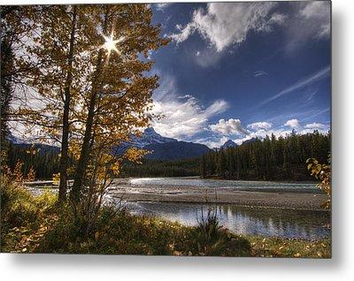 Athabasca River With Mount Fryatt Metal Print by Dan Jurak