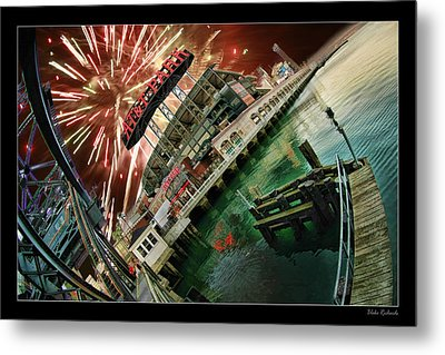 Att Park And Fire Works Metal Print by Blake Richards