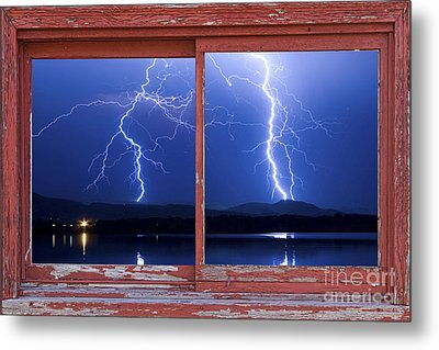 August 5th Lightning Storm Red Picture Window Frame Photo Art Metal Print by James BO  Insogna