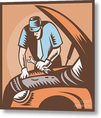 Automobile Mechanic Car Repair Metal Print by Aloysius Patrimonio