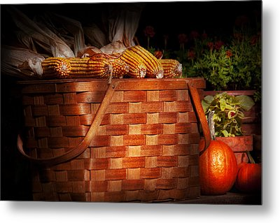 Autumn - Gourd - Fresh Corn Metal Print by Mike Savad