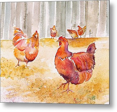 Autumn Hens Metal Print by Carolyn Doe