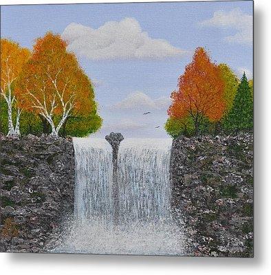 Autumn Waterfall Metal Print by Georgeta  Blanaru