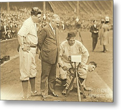 Babe Ruth Studies The Roster Metal Print by Padre Art