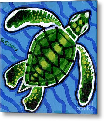 Baby Green Sea Turtle Metal Print by Genevieve Esson