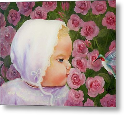 Baby Meets Hummingbird Metal Print by Joni McPherson