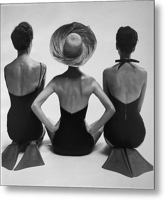 Back View Of Fashion Models In Swim Metal Print by Everett