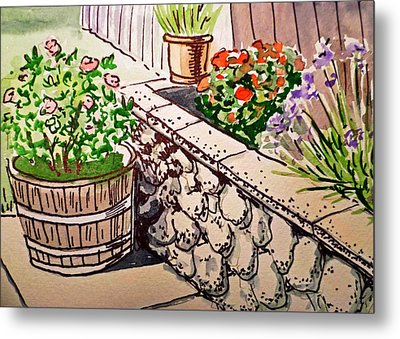 Backyard Sketchbook Project Down My Street Metal Print by Irina Sztukowski