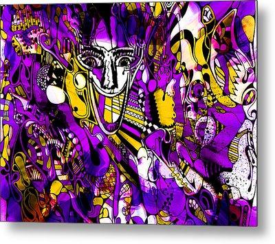 Bad Monday - Ironic Laugh -  Purple-yellow  Metal Print by JL Eichers