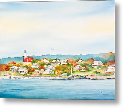 Bakers Island Lighthouse In Autumn Watercolor Painting Metal Print by Michelle Wiarda