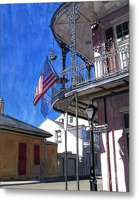 Balcony With American Flag Metal Print by John Boles