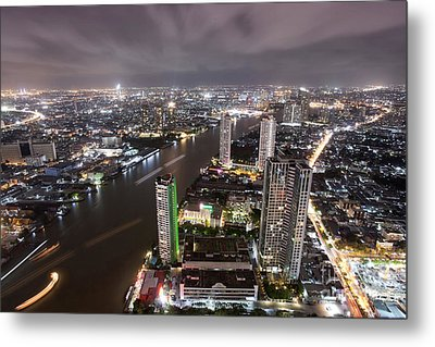 Bangkok City At Twilight  Metal Print by Anek Suwannaphoom