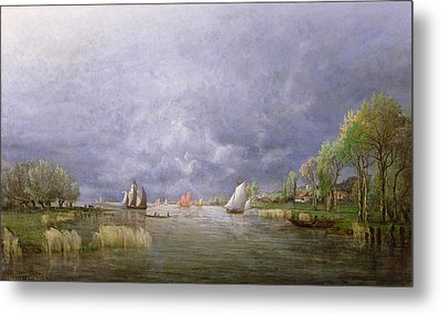Banks Of The Loire In Spring Metal Print by Charles Leroux