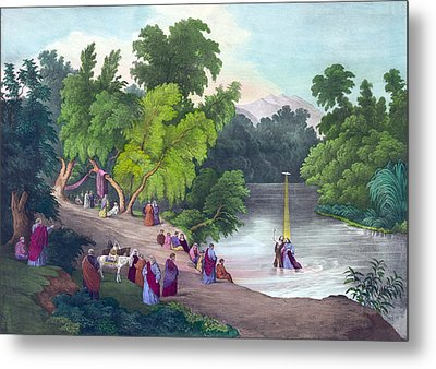 Baptism Of Jesus Christ In The River Metal Print by Everett