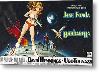 Barbarella, Jane Fonda On Poster Art Metal Print by Everett