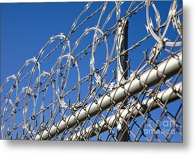 Barbed Wire And Chain Link Fence Metal Print by Paul Edmondson