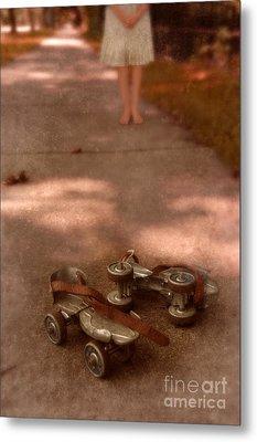 Barefoot Girl On Sidewalk With Roller Skates Metal Print by Jill Battaglia