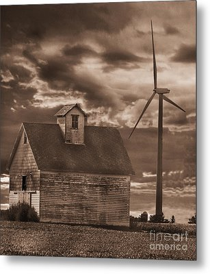 Barn And Windmill Metal Print by Jim Wright