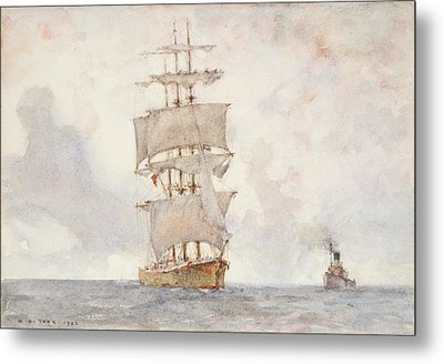 Barque And Tug Metal Print by Henry Scott Tuke