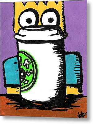 Bart Loves Coffee Metal Print by Jera Sky