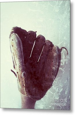 Baseball Glove Vertical Metal Print by Ruby Hummersmith