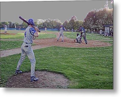 Baseball On Deck Digital Art Metal Print by Thomas Woolworth